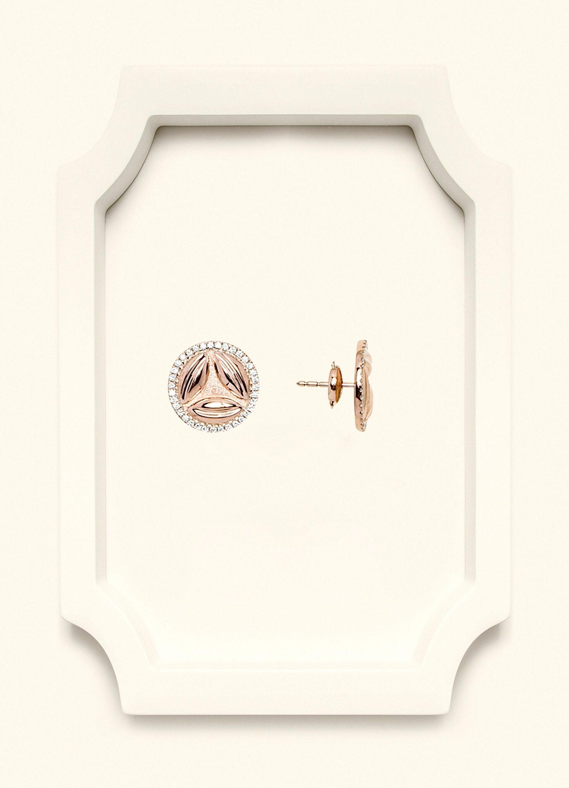 Full Diamond Rose Gold Stud Earrings