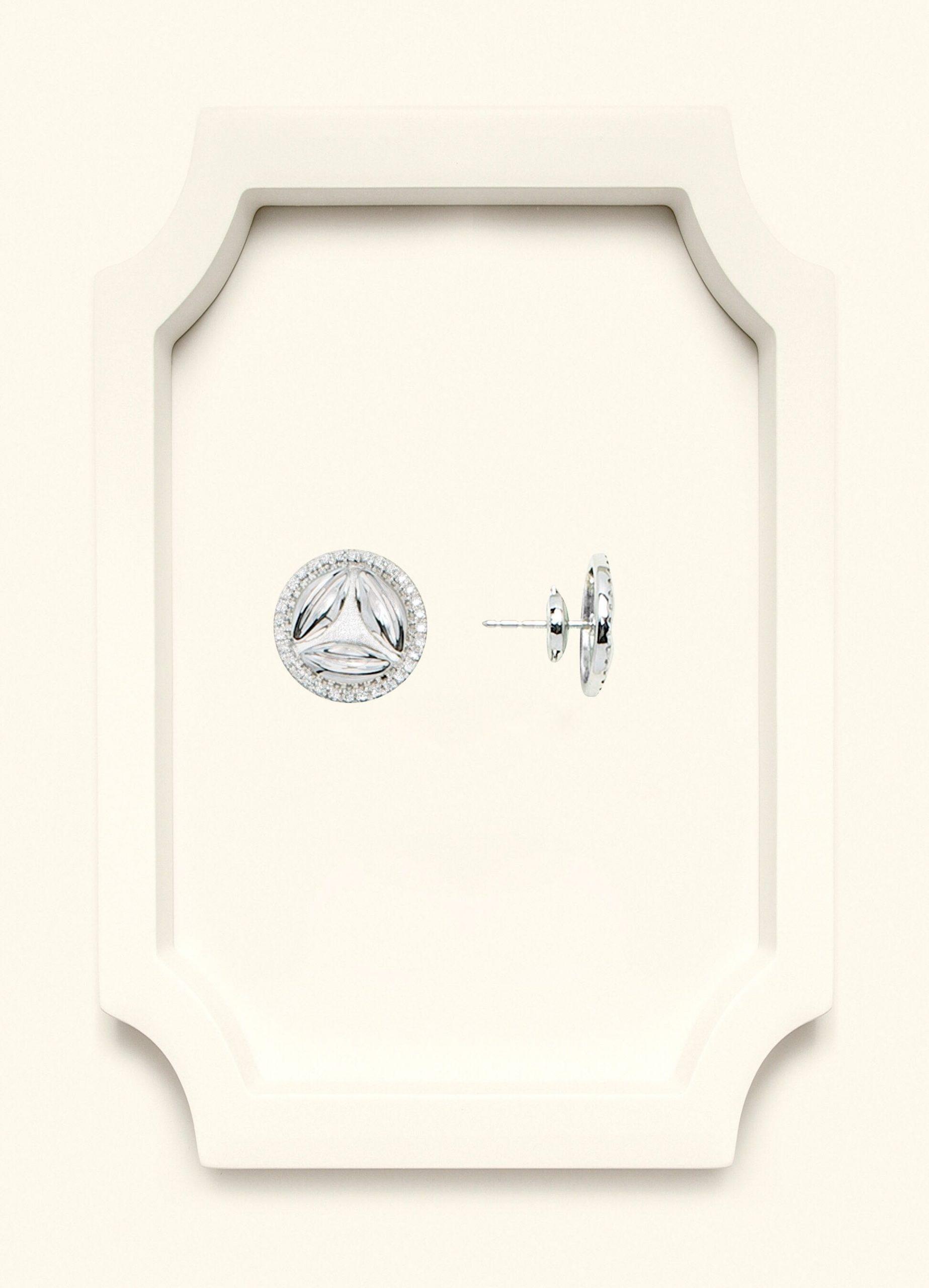 Full Diamond White Gold Stud Earrings