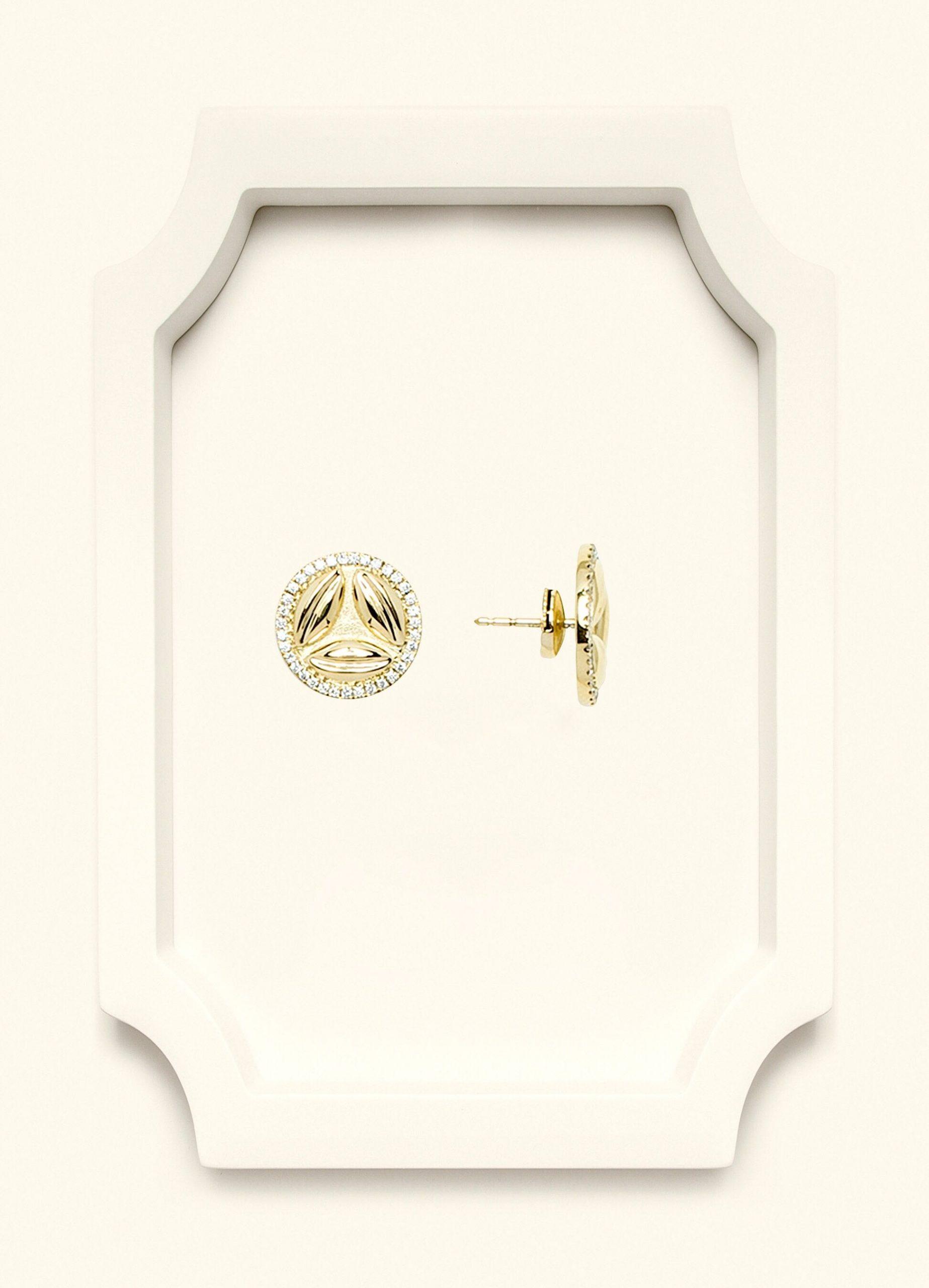 Full Diamond Yellow Gold Stud Earrings