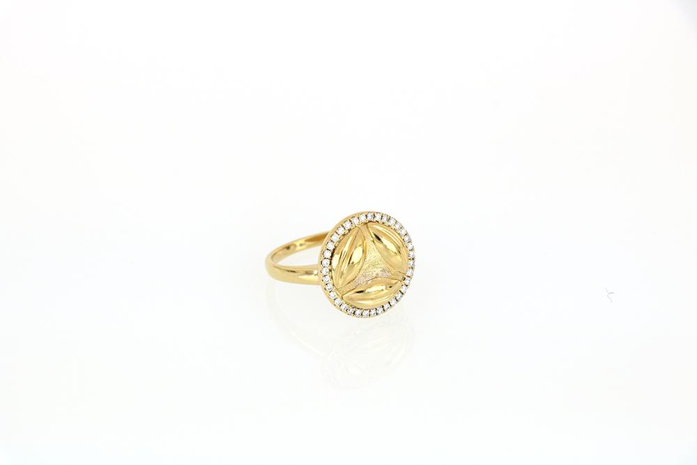 Al Awsaj Yellow Gold Ring with Diamonds