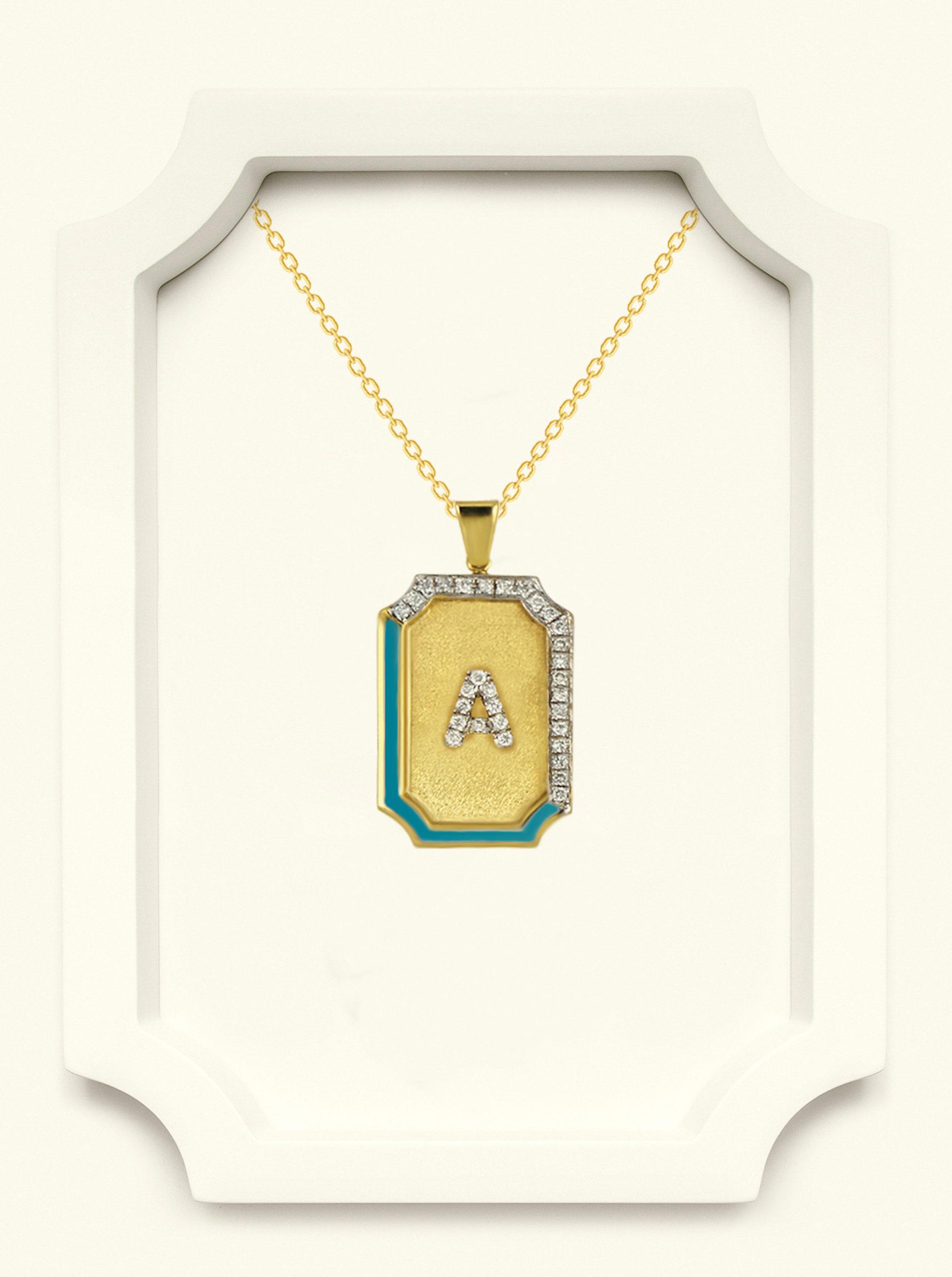 Saba Yellow Gold Signature Pendant With Blue Enamel