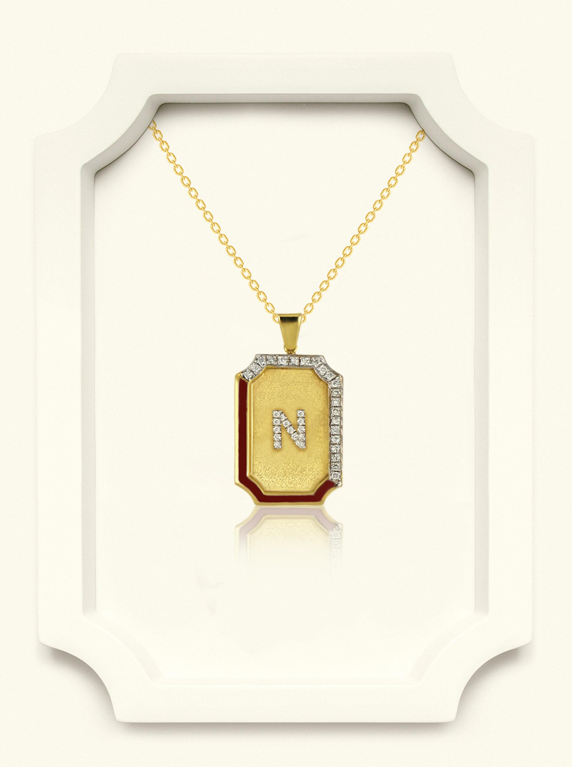 Saba Yellow Gold Signature Pendant With Black Enamel