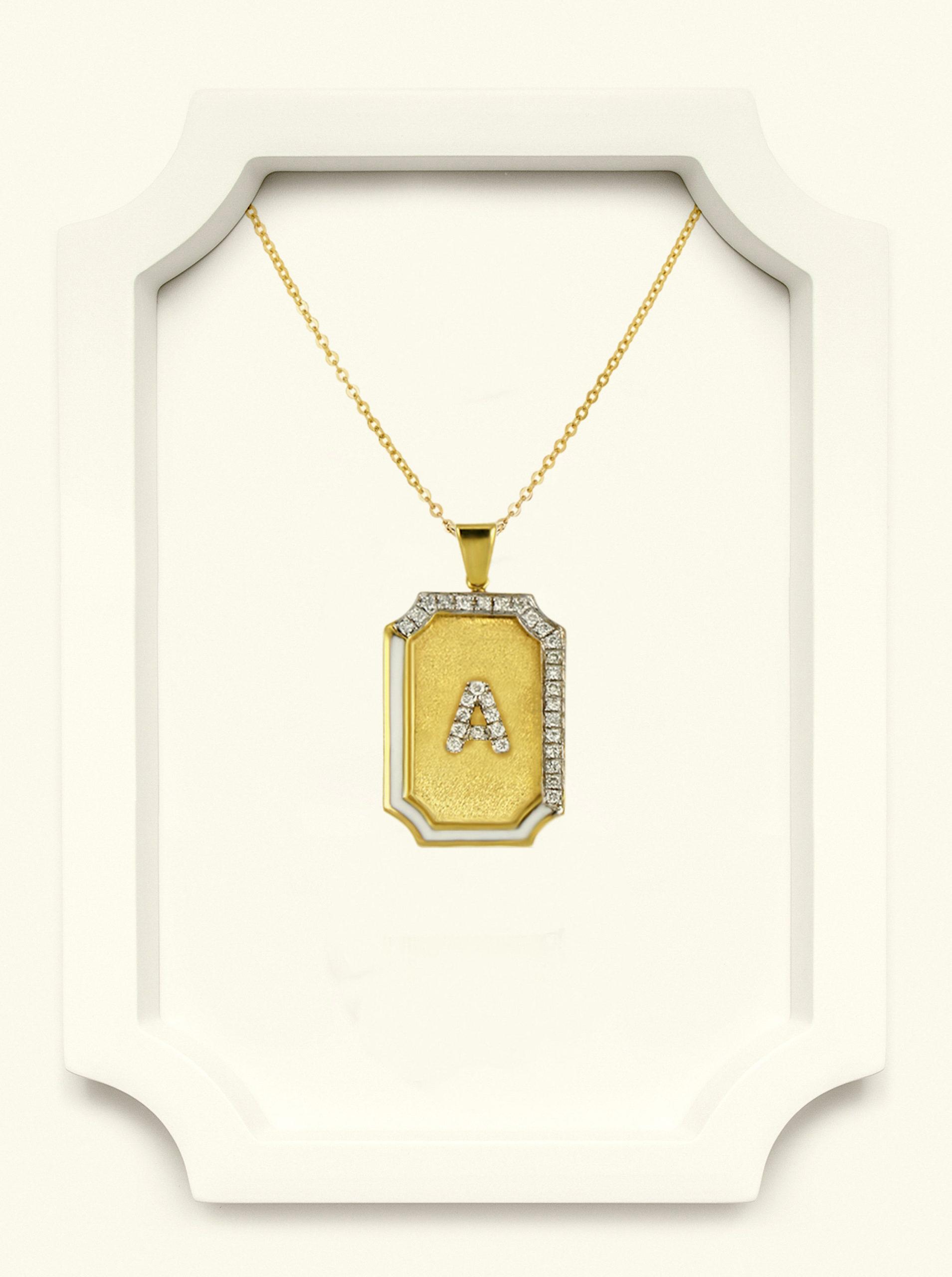 Saba Yellow Gold Signature Pendant With White Enamel