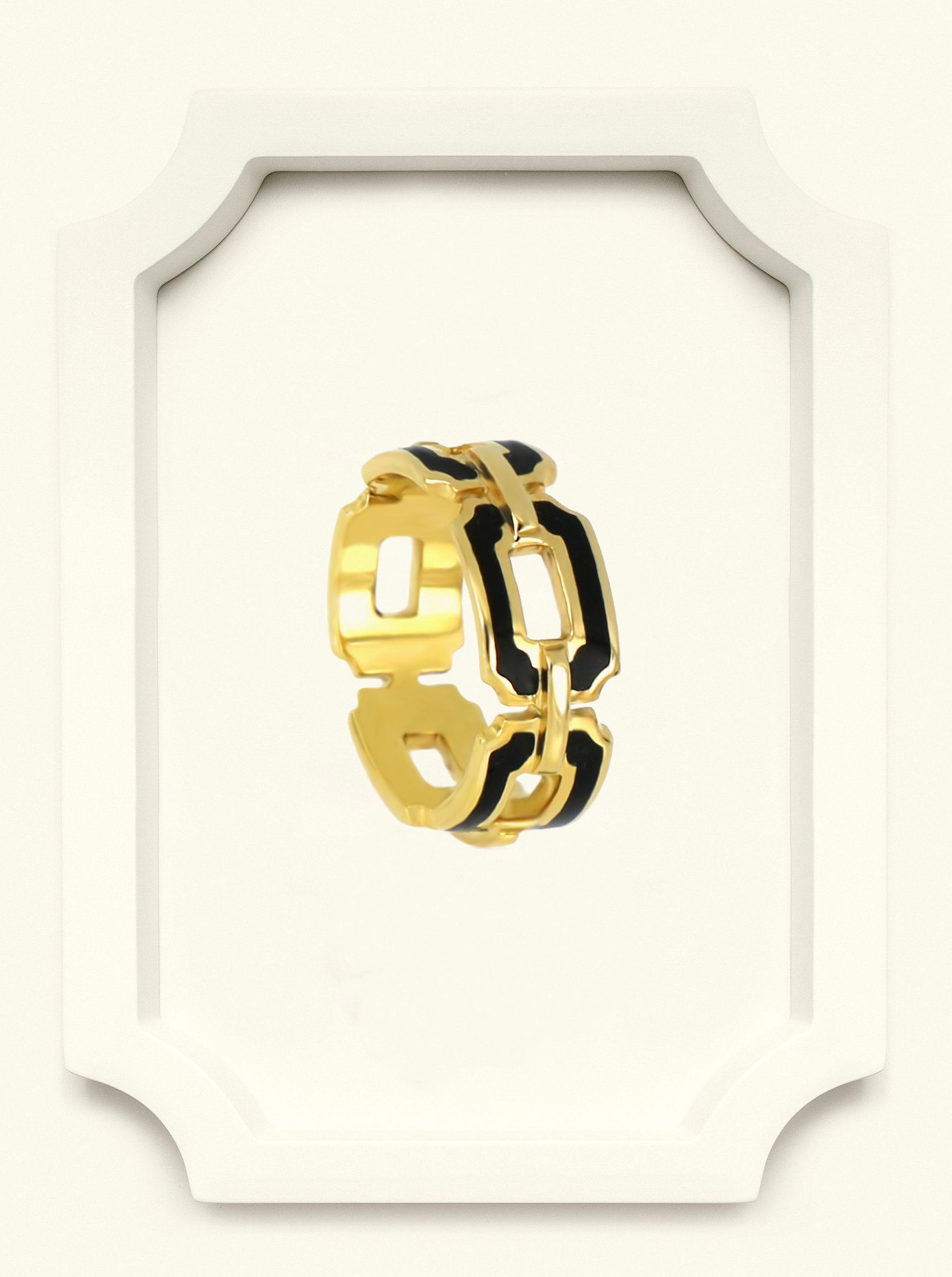 Saba Yellow Gold Signature Ring with Black Enamel