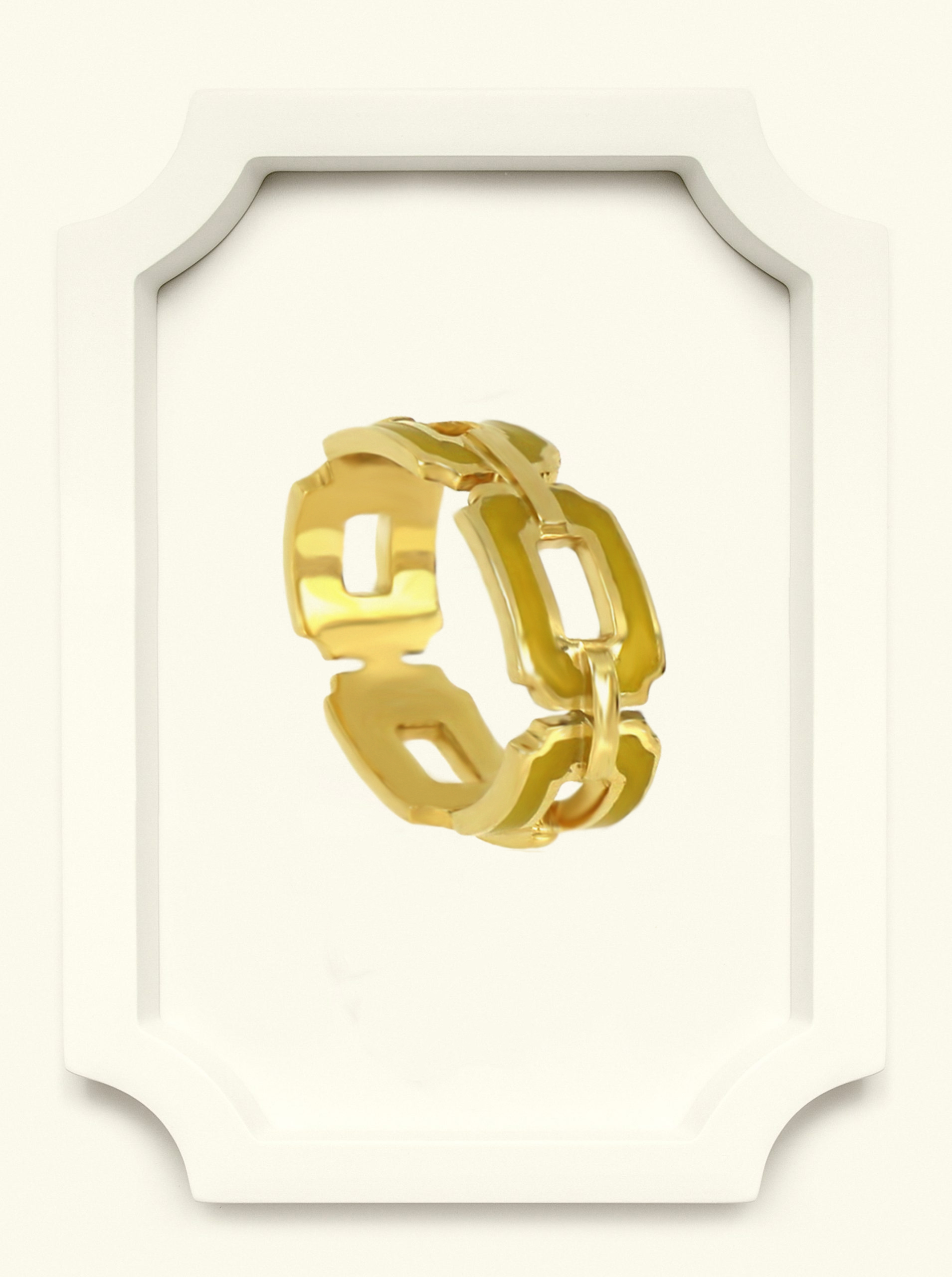 Saba Yellow Gold Signature Ring with Green Enamel