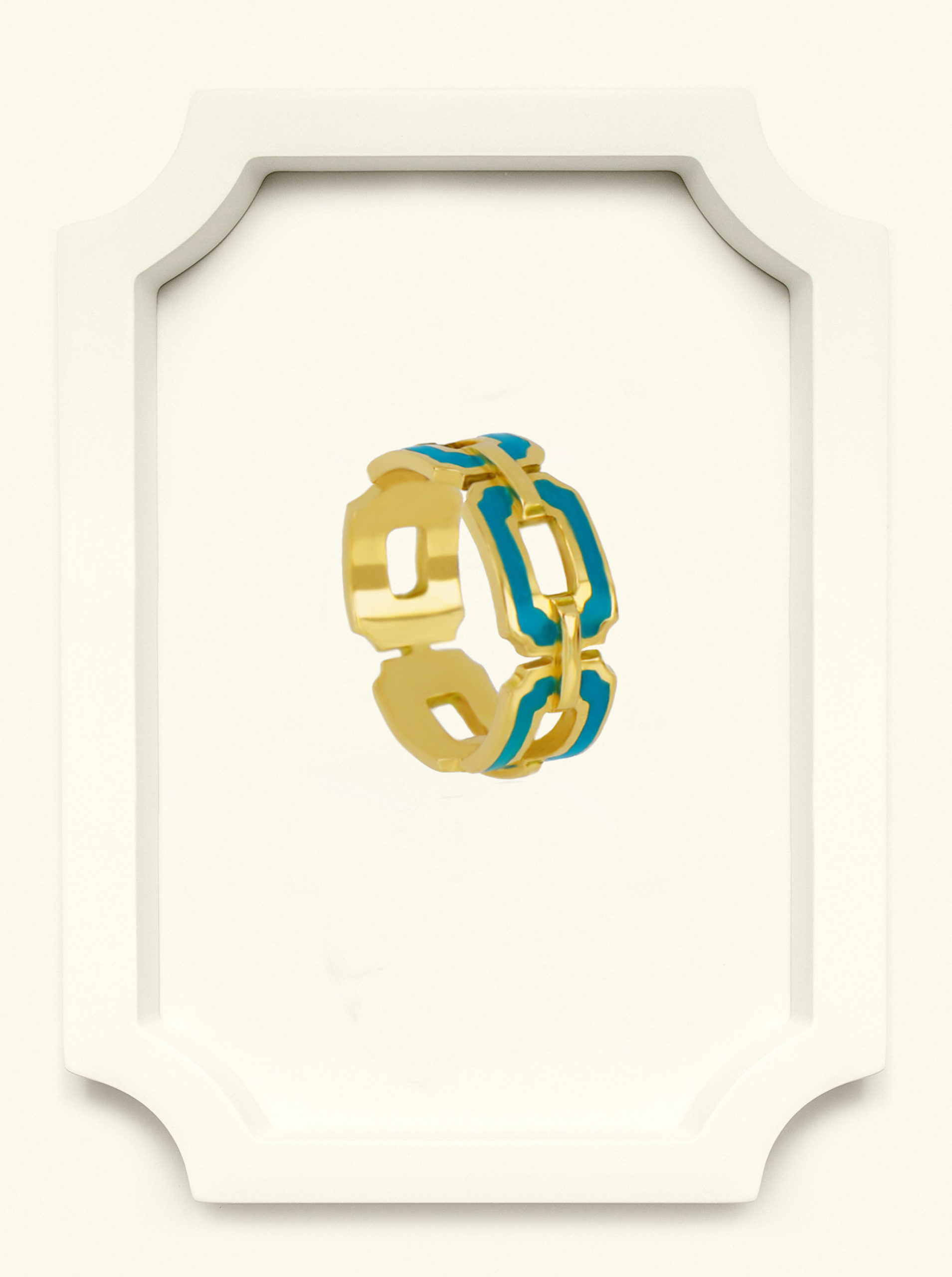 Saba Yellow Gold Signature Ring with Blue Enamel