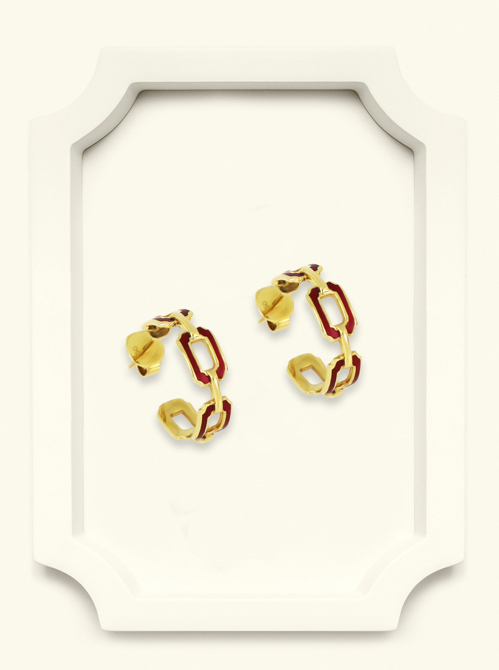 Saba Yellow Gold Signature Ring with Red Enamel