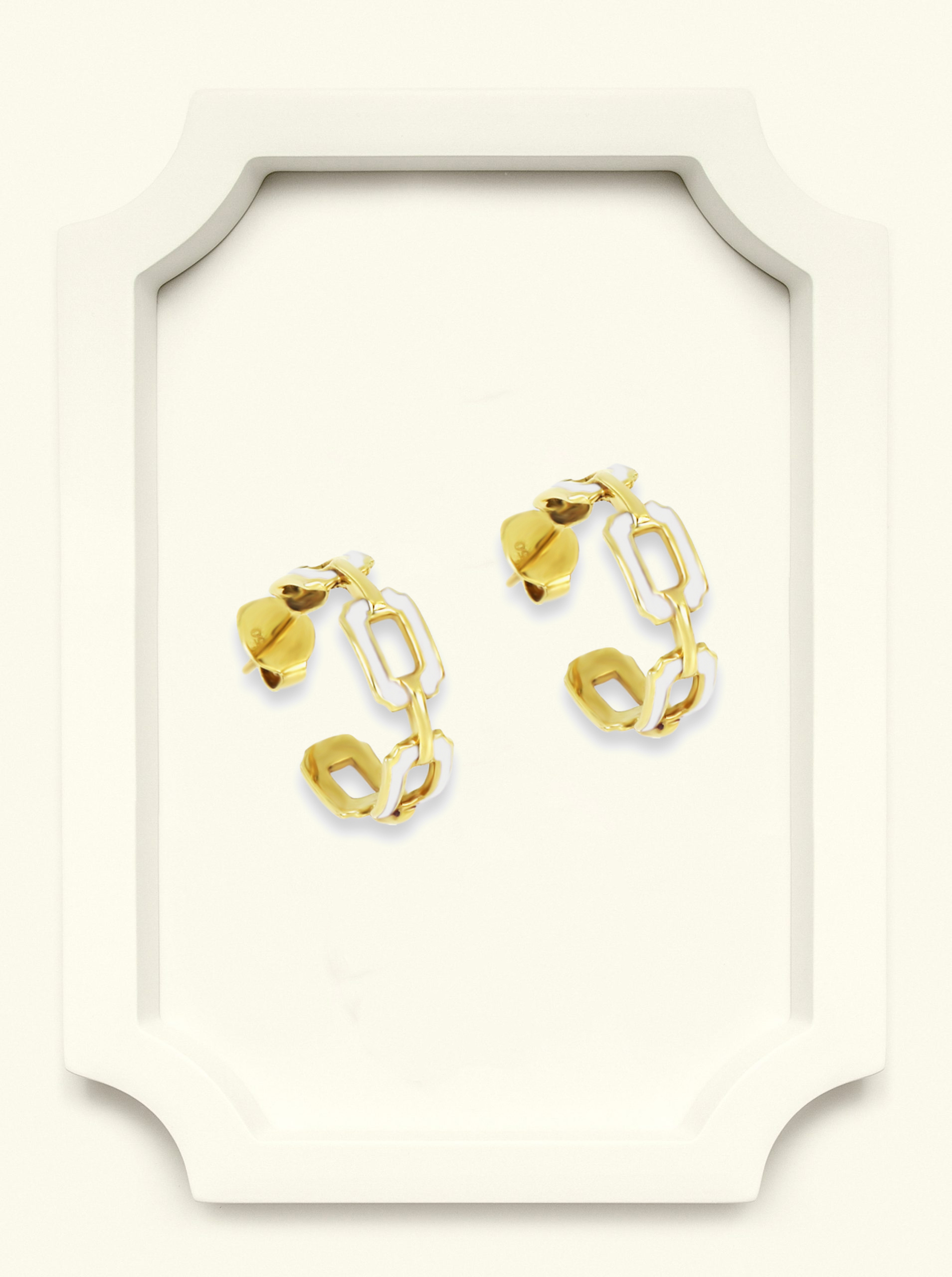 Saba Yellow Gold Signature Ring With white Enamel